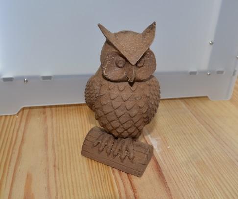 Hibou imprimé en filament bois