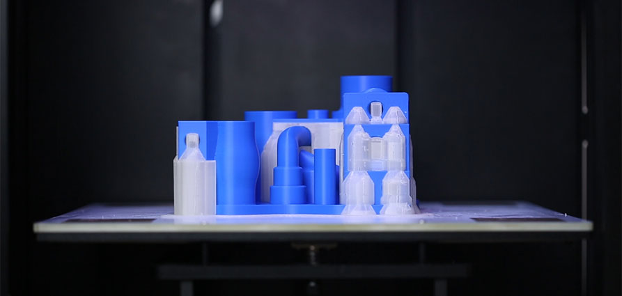 Double extrusion support soluble