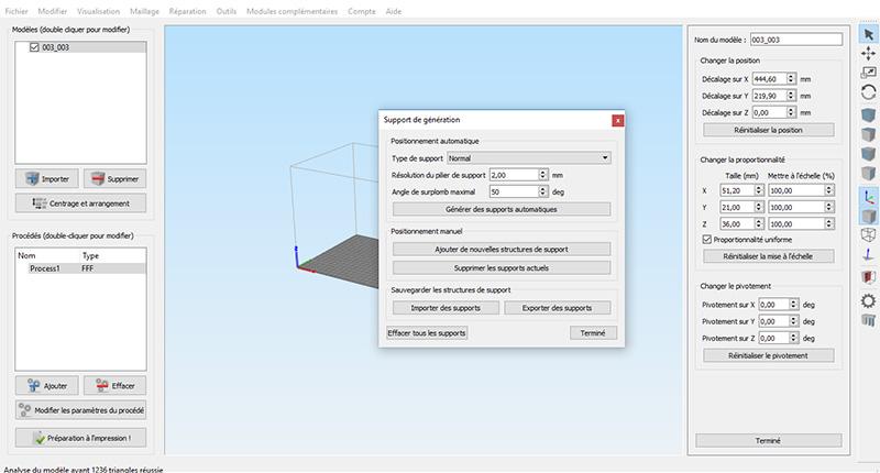 Simplify 3D gestion manuelle des supports